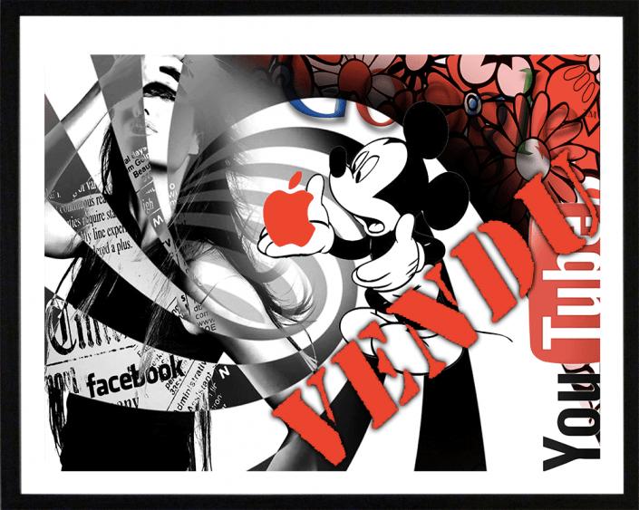 mickey pop art lithographie sandrine hayat peinture collage artiste peintre