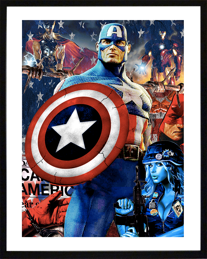 pop art lithographie sandrine hayat peinture collage artiste peintre captain america