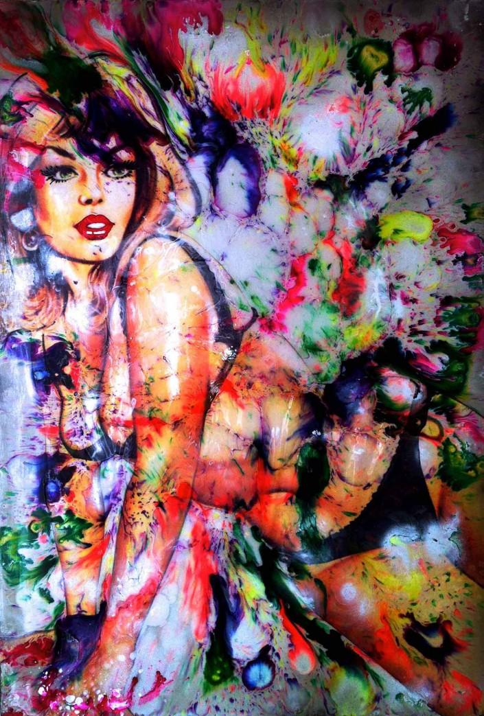 pop art peinture collage sandrine hayat les sept péchés capitaux tableaux picture pinup couleur