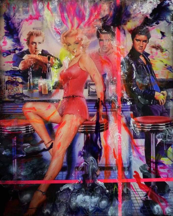 pop art peinture collage sandrine hayat les sept péchés capitaux tableaux picture bar vintage elvis maryline james dean