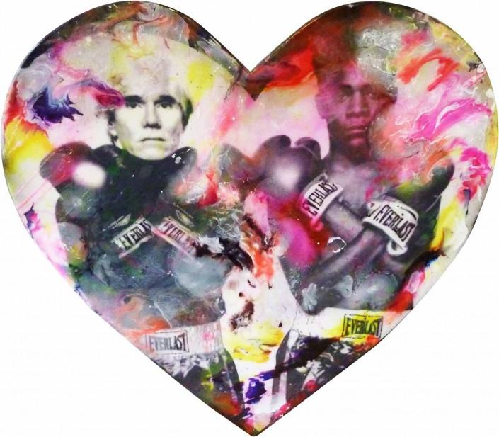 pop art peinture collage sandrine hayat les sept péchés capitaux tableaux picture andy wharol jean michel basquiat coeur bois