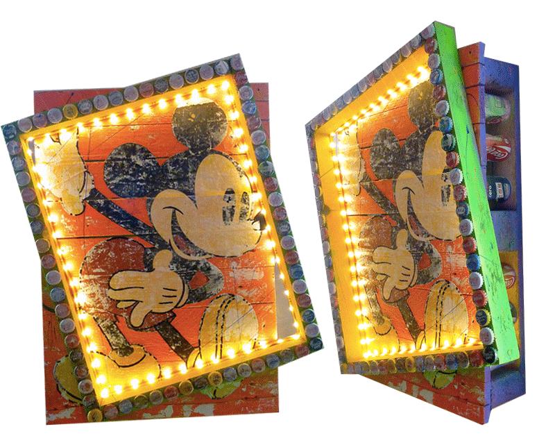 palette en bois mickey sandrine hayat pop art tableau oeuvre picture coca cola