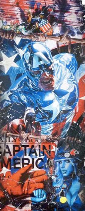 captain america marvel pop art collage peinture tableaux sandrine hayat