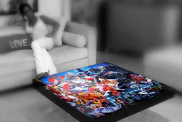 oeuvre, tableau, artiste, artiste peintre, contemporain, atelier , atelier pop art, decoration, galerie, table