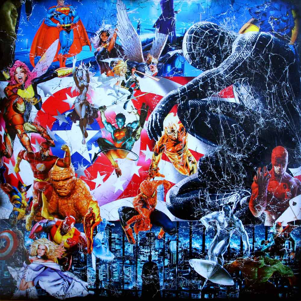 oeuvre, tableau, artiste, artiste peintre, contemporain, atelier , atelier pop art, decoration, galerie, marvel