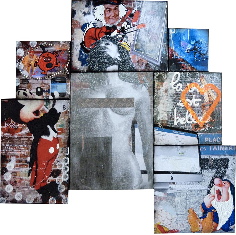 captain america marvel pop art collage peinture tableaux